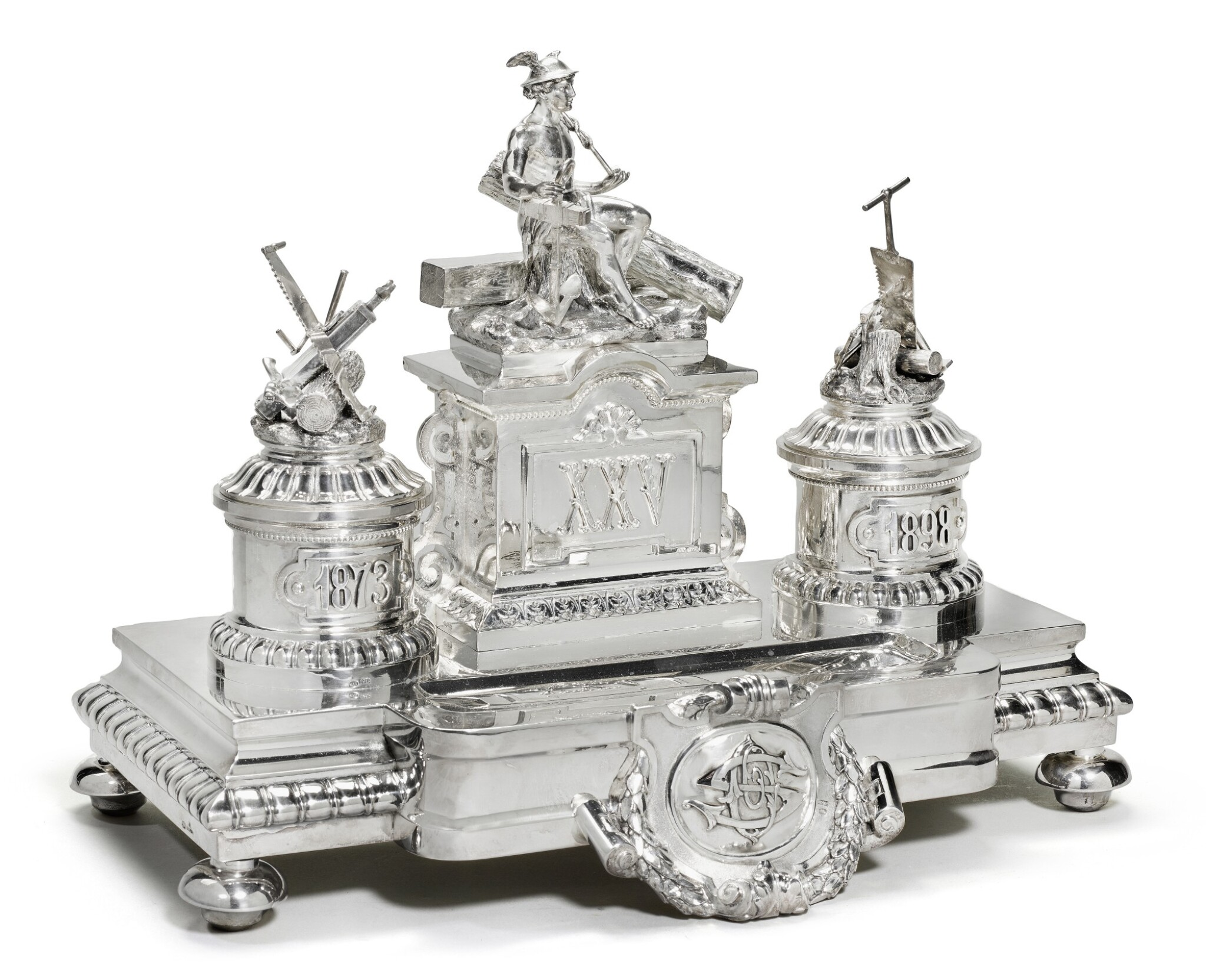 View full screen - View 1 of Lot 214. A large and Impressive silver Imperial presentation inkwell, Grachev, St Petersburg, 1892.