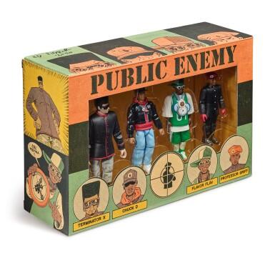 View 1. Thumbnail of Lot 41. ED PISKOR | Original artwork & designs for Public Enemy action figures, w/ original set of action figures.
