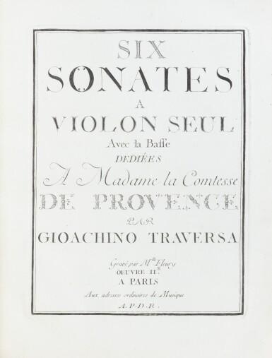 View 2. Thumbnail of Lot 83. Six sonates à violon seul. [Vers 1770]. In-4. Maroquin rouge aux armes de la ctsse de Provence..