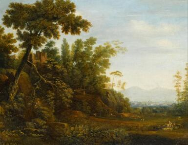 View 1. Thumbnail of Lot 64. SIMON-MATHURIN LANTARA | Alandscape with a farmer and his herd and ruins on a hill,with a distant view of Naples and Mount Vesuvius beyond.