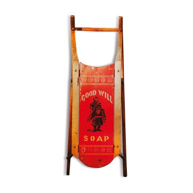 FINE CHILD'S POLYCHROME PAINT-DECORATED WOOD 'GOOD WILL SOAP' SLED, PARIS, MAINE, CIRCA 1895