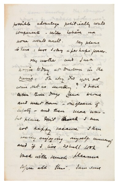 View 4. Thumbnail of Lot 26. CHURCHILL | autograph letter signed, to Pamela Plowden, 1900.