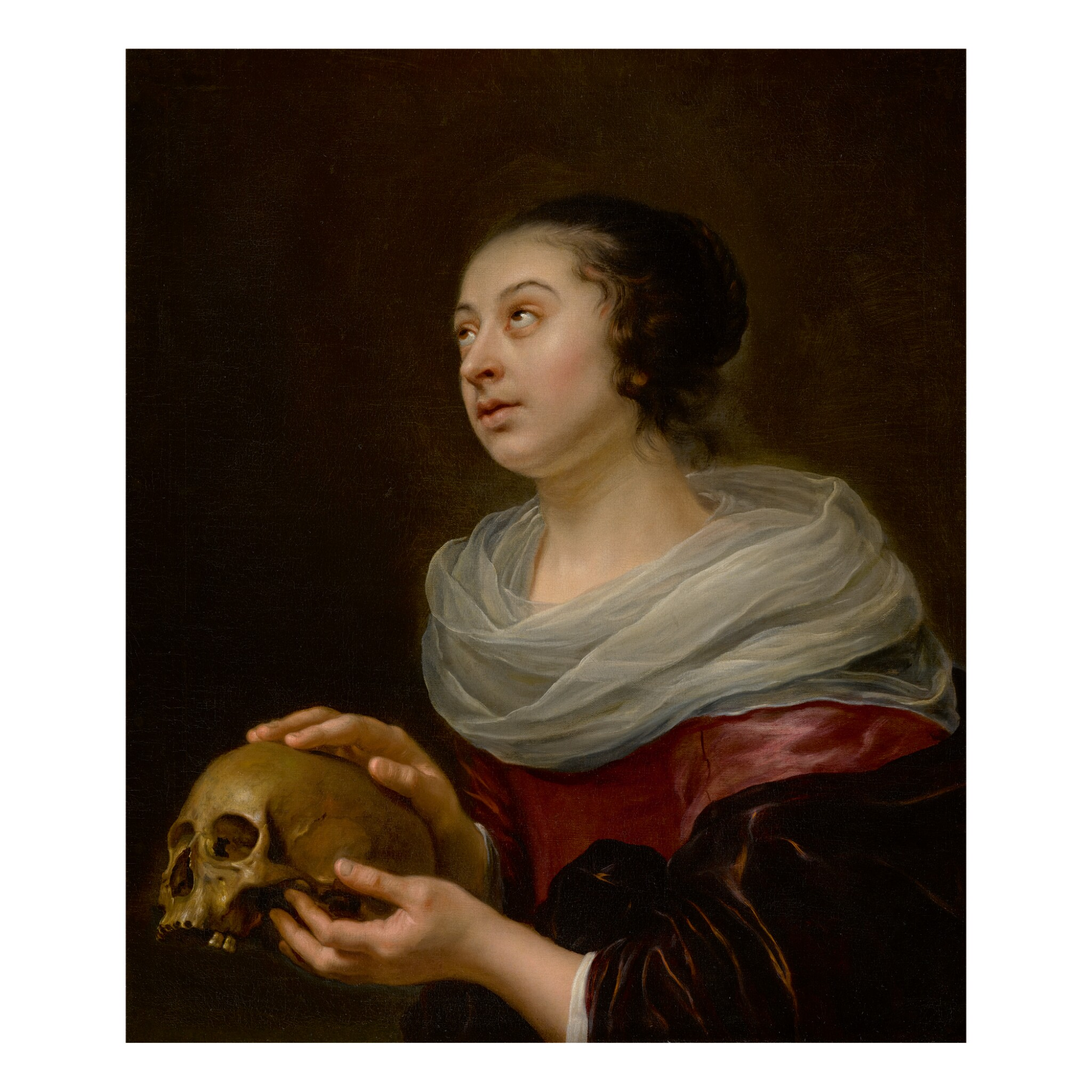 View full screen - View 1 of Lot 99. ATTRIBUTED TO JAN OLIS | A VANITAS PORTRAIT OF A YOUNG WOMAN, HALF LENGTH, HOLDING A SKULL.