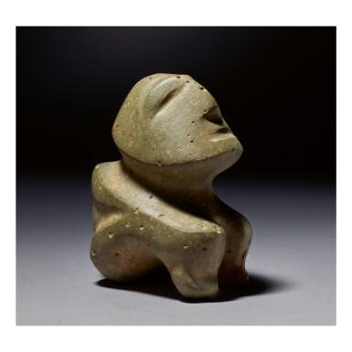 MEZCALA STONE SEATED FIGURE LATE PRECLASSIC, CIRCA 300 - 100 BC