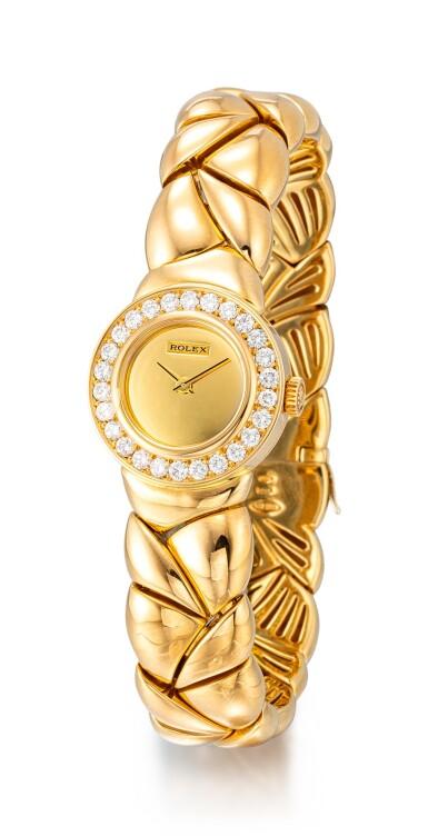 View 2. Thumbnail of Lot 8164. ROLEX | REFERENCE 2732 | A YELLOW GOLD AND DIAMOND-SET BRACELET WATCH, CIRCA 1990 |  勞力士 |  型號2732 黃金鑲鑽石鏈帶腕錶,約1990年製.