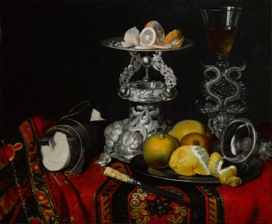 View 1. Thumbnail of Lot 140. Still life with a façon de venise serpent-stemmed wine glass, a silver vessel, a block of sugar and lemons on a pewter plate, all on a draped table.
