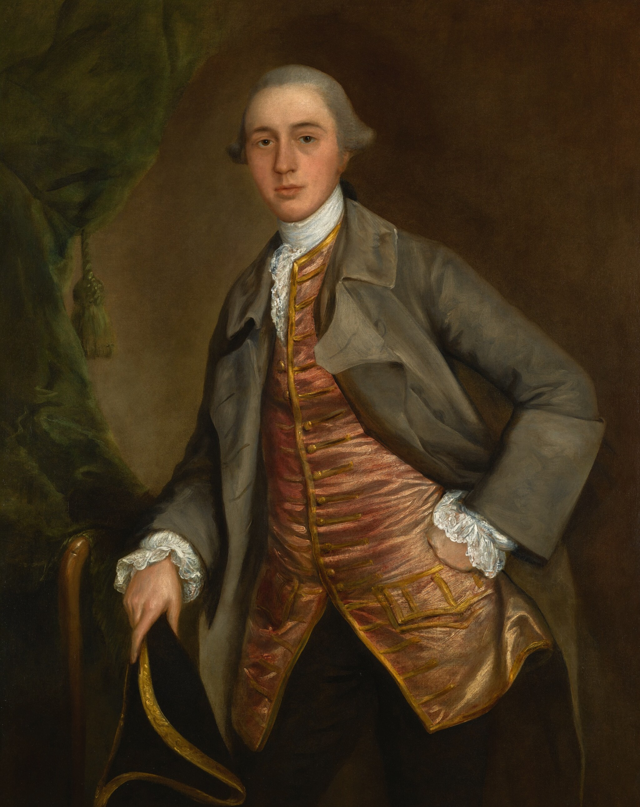 View 1 of Lot 165. THOMAS GAINSBOROUGH, R.A. | Portrait of John Richards, three-quarter-length, wearing a green coat and holding a tricorn hat.