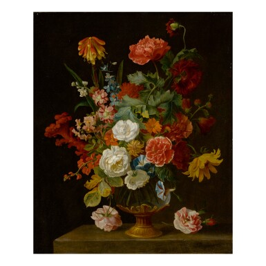 View 1. Thumbnail of Lot 107. JAKOB BOGDÁNY | STILL LIFE OF FLOWERS IN A VASE.