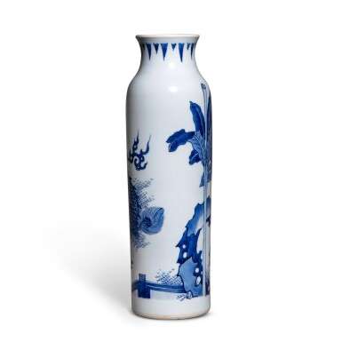 View 2. Thumbnail of Lot 79. A blue and white 'qilin' sleeve vase, 17th century | 十七世紀 青花芭蕉麒麟圖筒瓶.