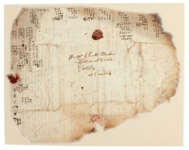View 6. Thumbnail of Lot 61. NEWTON | Autograph manuscript notes on the Great Pyramid of Egypt, c. 1680s.