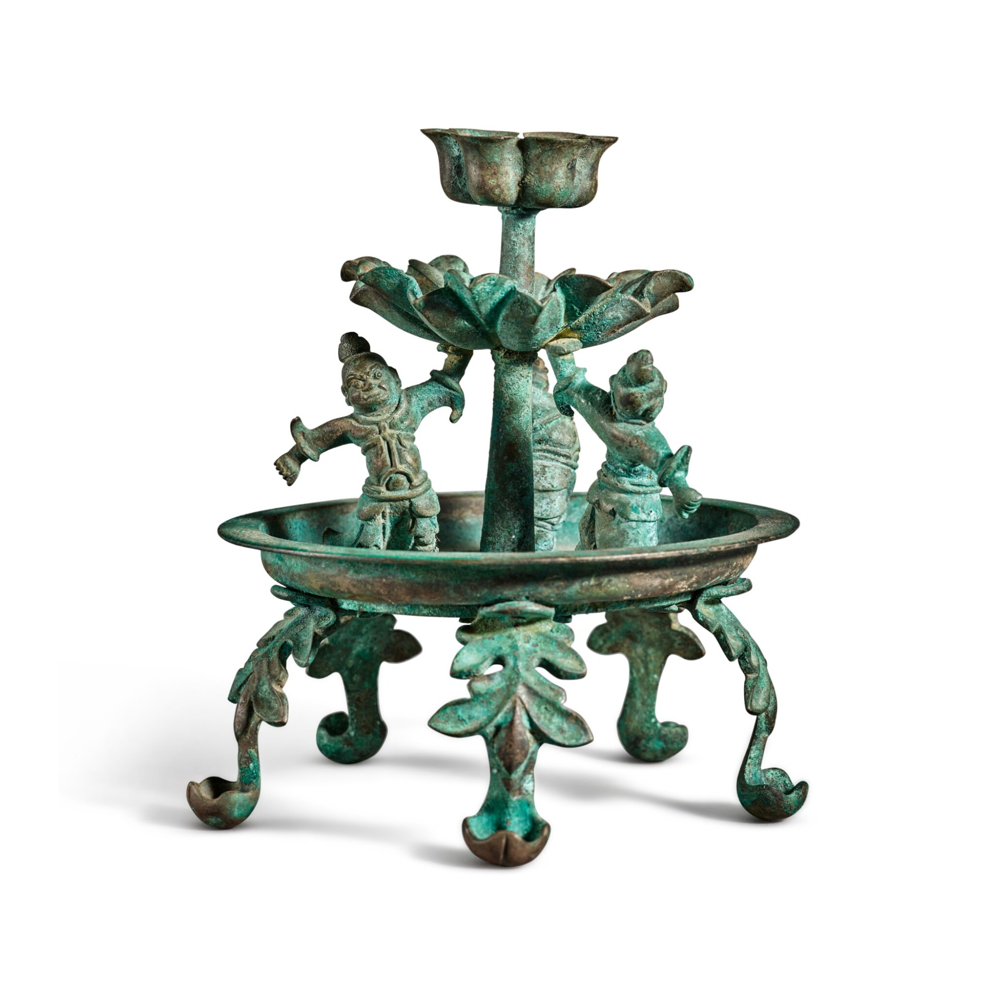 View full screen - View 1 of Lot 101. A bronze oil lamp, Tang dynasty | 唐 銅天王花式五足燈.