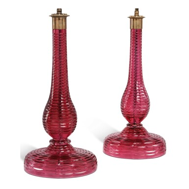 PAIR OF CRANBERRY GLASS LAMPS