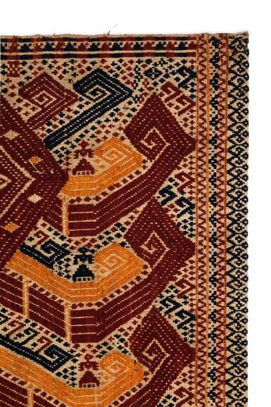 "View 3. Thumbnail of Lot 39. Tissu cérémoniel ""à jonques"" palepai, Lampung, Sumatra, Indonésie, 19e siècle | Ceremonial hanging ""ship cloth"" palepai, Lampung, Sumatra, Indonesia, 19th century."