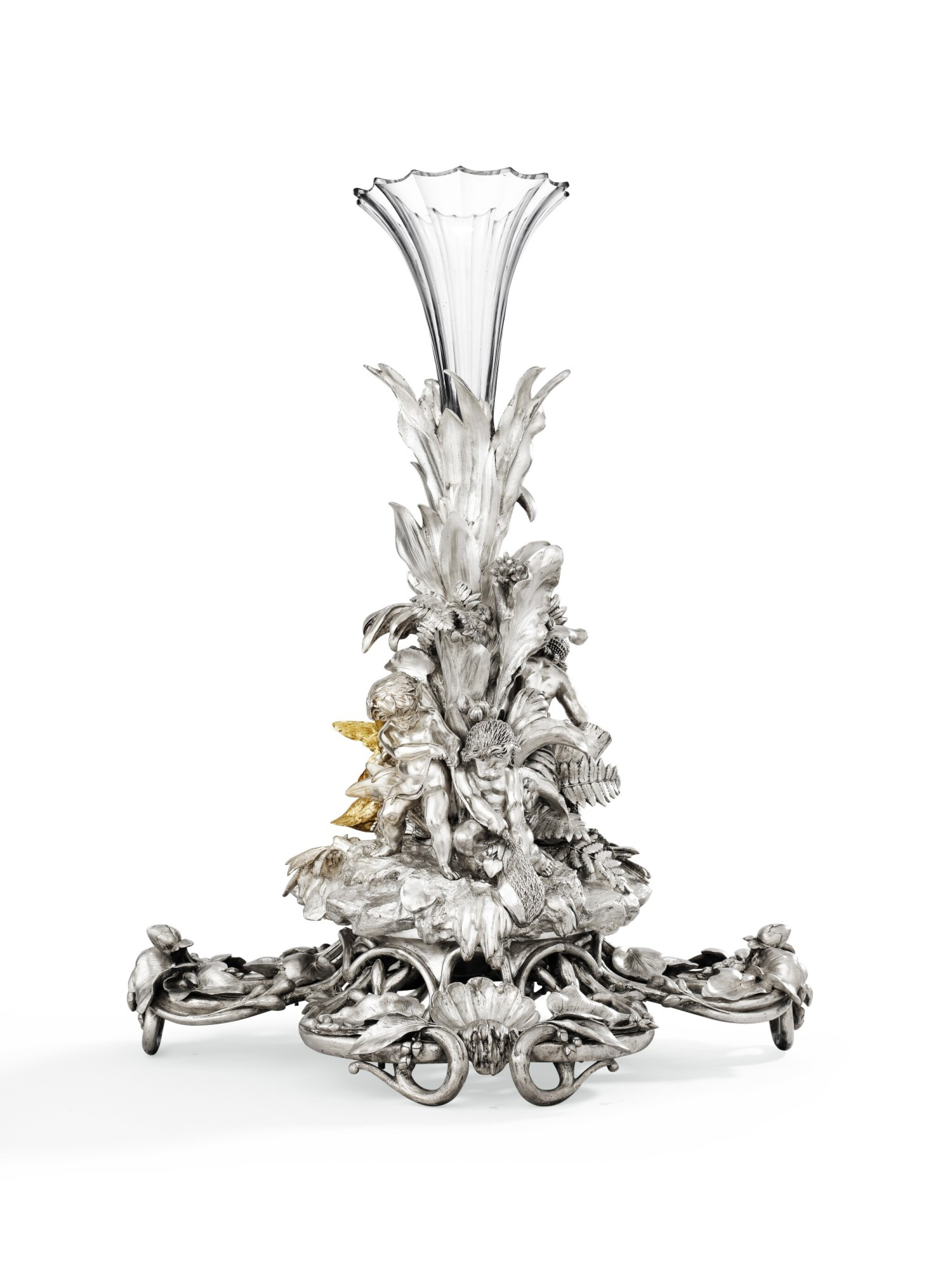View 1 of Lot 82. A LARGE SILVER-PLATED AND GILT BRONZE CENTREPIECE, CHRISTOFLE, PARIS, CIRCA 1860 | GRAND SURTOUT DE TABLE EN BRONZE ARGENTÉ ET DORÉ PAR CHRISTOFLE, PARIS, VERS 1860 .