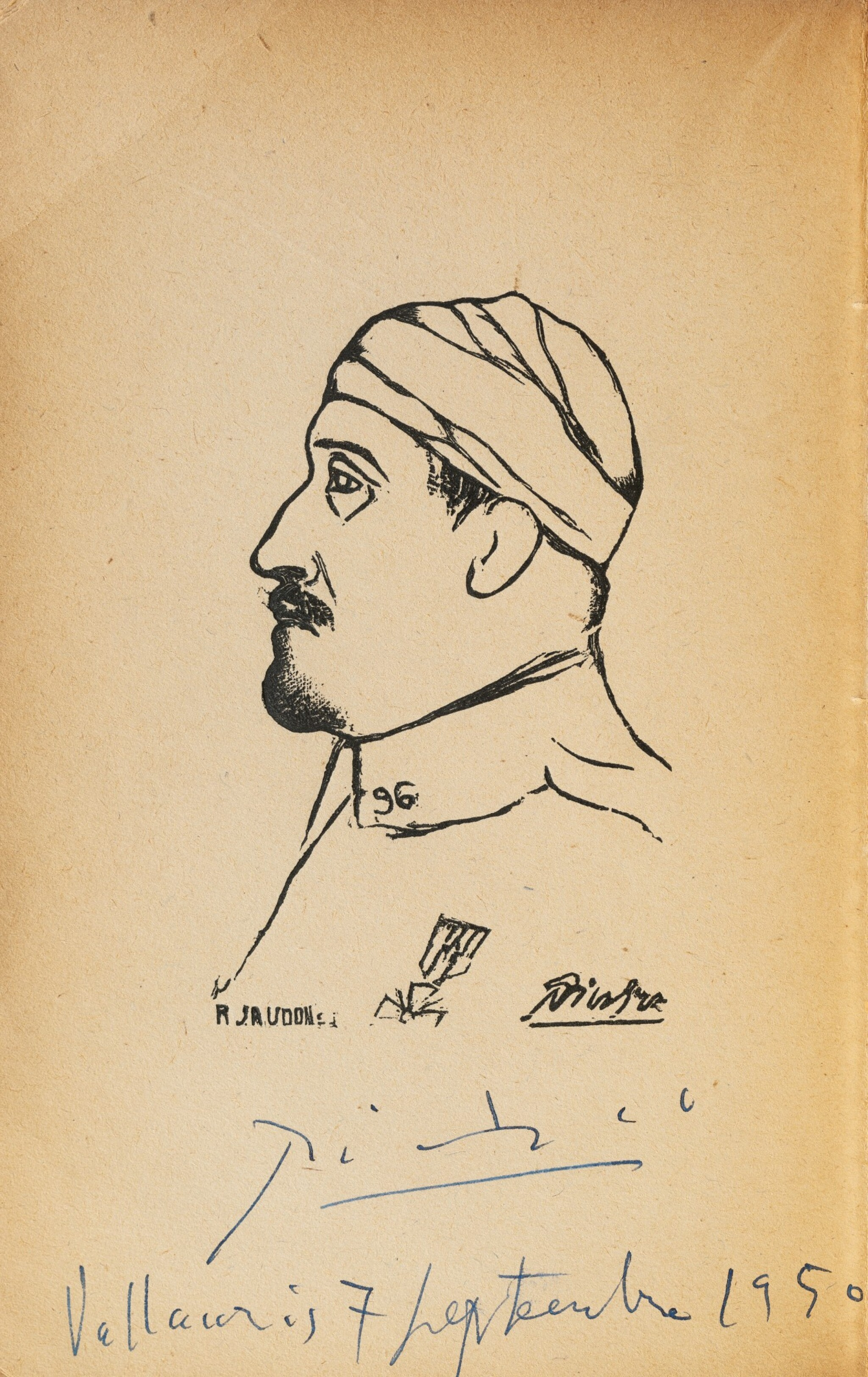 View full screen - View 1 of Lot 200. Calligrammes. 1918. Broché. Portrait frontispice avec signature autographe de Picasso..