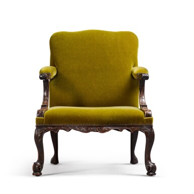 View 2. Thumbnail of Lot 126. A GEORGE II STYLE CARVED MAHOGANY GAINSBOROUGH ARMCHAIR, 19TH CENTURY.