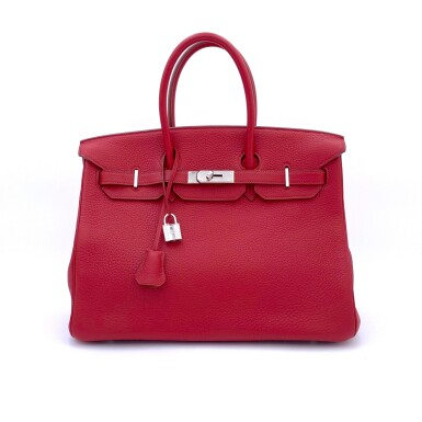 View 1. Thumbnail of Lot 723. HERMÈS   ROUGE GRENATE BIRKIN 35 IN TOURILLON CLEMENCE LEATHER WITH PALLADIUM HARDWARE, 2008.