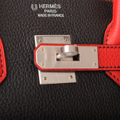 View 7. Thumbnail of Lot 43. HERMÈS   HORSESHOE STAMPED (HSS) BICOLOR BLACK AND VERMILLION BIRKIN 35CM OF TOGO LEATHER WITH BRUSHED PALLADIUM HARDWARE.