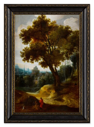 View 2. Thumbnail of Lot 5. A landscape with the Rest on the Flight into Egypt .