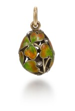 A Fabergé jewelled gold and guilloché enamel 'Clover Leaf' egg pendant, Moscow, 1899-1914