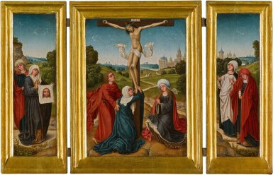 View 1. Thumbnail of Lot 1. A portable triptych: The Crucifixion with Saints John, Mary and a companion (central panel); Saint Veronica and a companion (left wing); Saint Mary Magdalene and a companion (right wing)   《小型三聯作:十字架苦像與聖約翰、瑪利亞及同伴(中央畫板);聖韋羅尼加與同伴(左翼);聖抹大拉的馬利亞與同伴(右翼)》.
