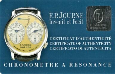 View 9. Thumbnail of Lot 422. Chronomètre à Résonance  A platinum dual time wristwatch with power reserve indication and brass movement, Circa 2002 .