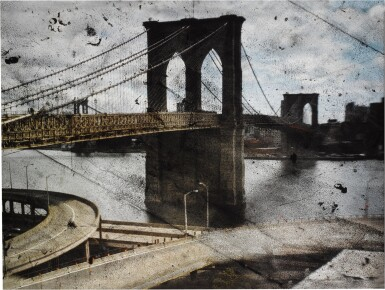 View 1. Thumbnail of Lot 20. 'Tent-Camera Image on Ground - Rooftop View of the Brooklyn Bridge'.