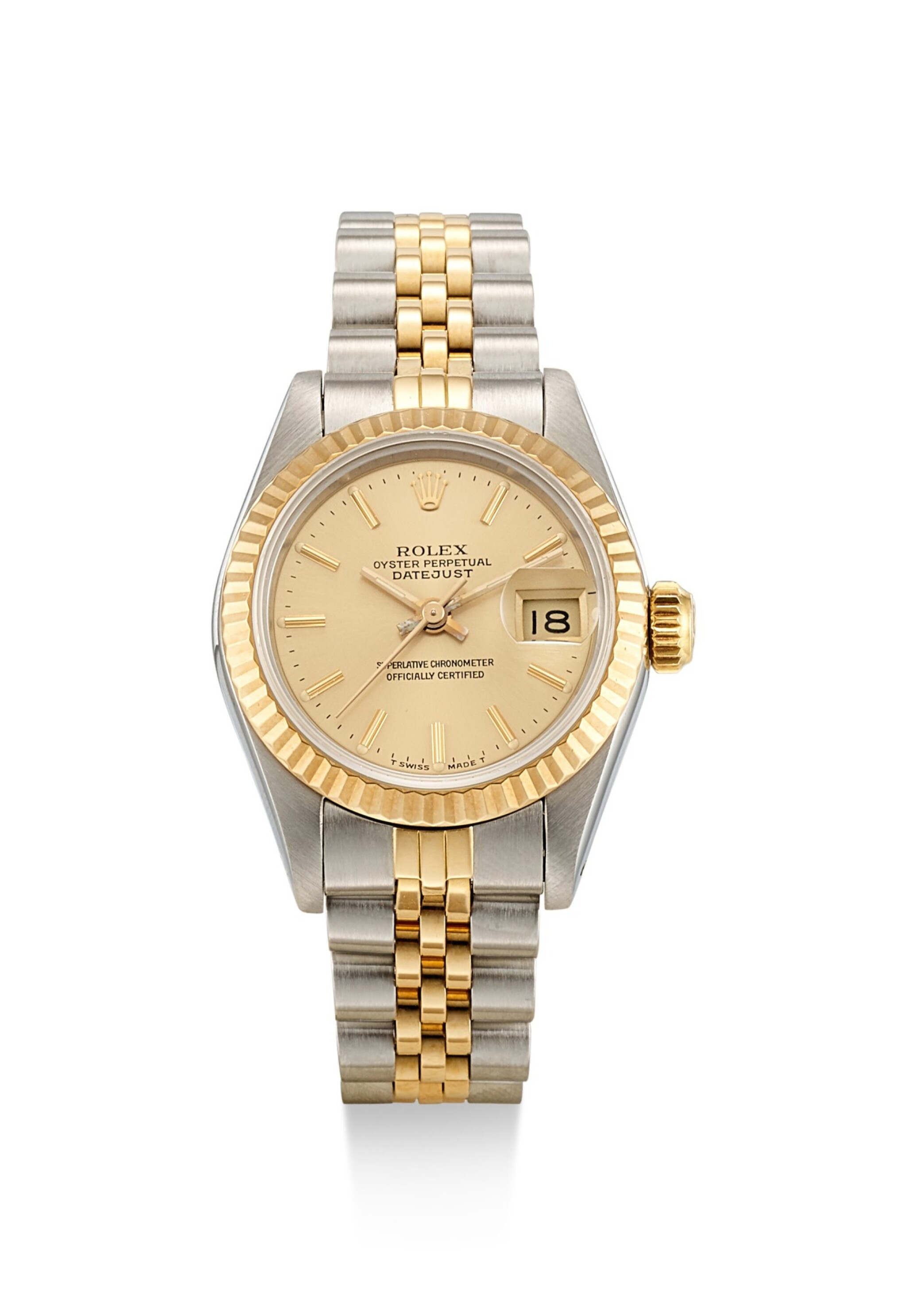 View full screen - View 1 of Lot 8084. ROLEX   DATEJUST, REFERENCE 69173, A YELLOW GOLD AND STAINLESS STEEL WRISTWATCH WITH DATE AND BRACELET, CIRCA 1988.