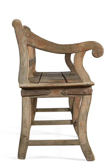 View 4. Thumbnail of Lot 138.  A LARGE TEAK 'BOMBAY' BENCH, INDIA, 19TH CENTURY.