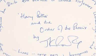 ROWLING | Autograph card signed providing clues to Harry Potter and the Order of the Phoenix, 2002