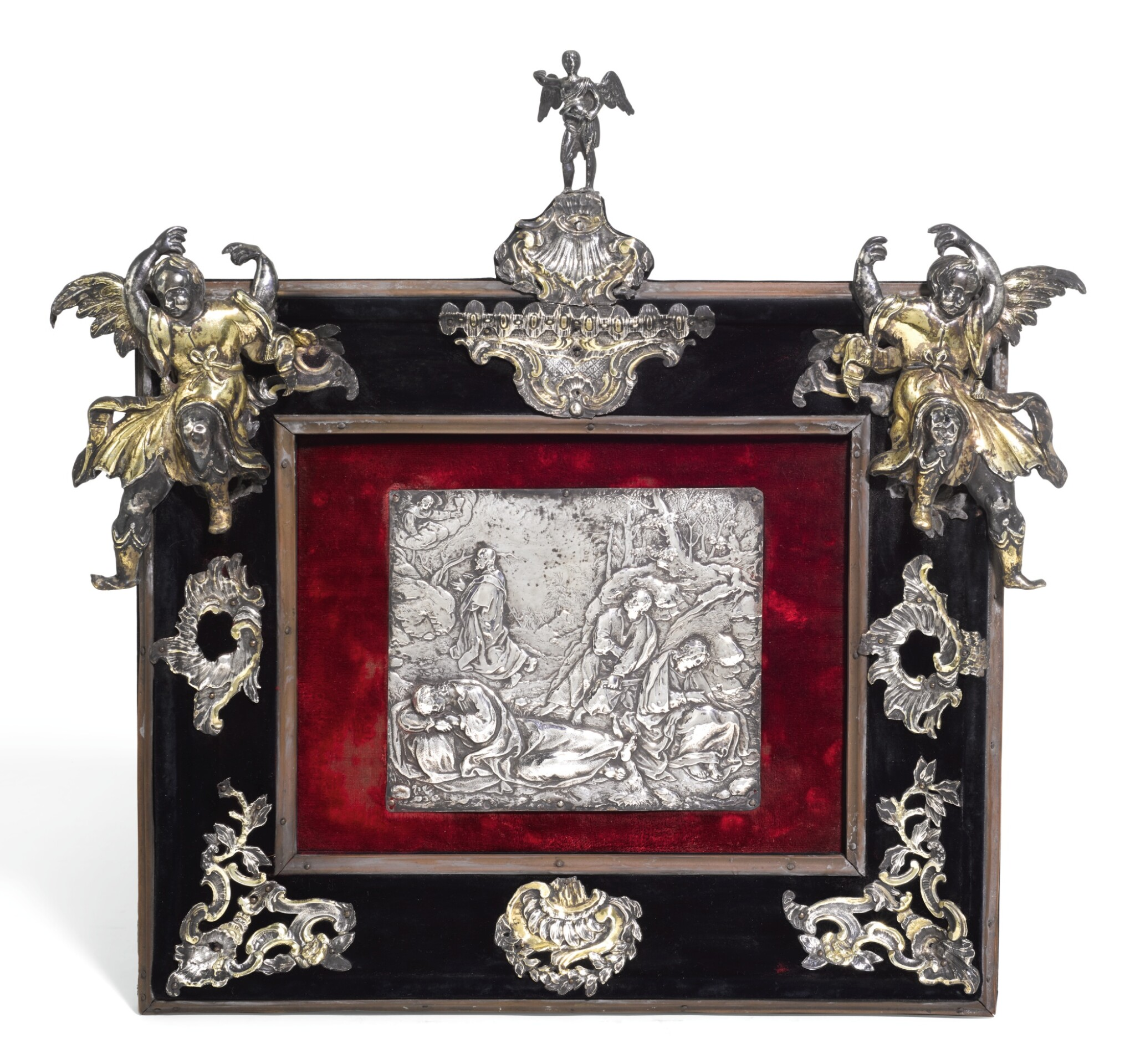 View full screen - View 1 of Lot 150. A CONTINENTAL SILVER MOUNTED DEVOTIONAL FRAME, UNMARKED, NETHERLANDISH, 17TH & 18TH CENTURY, CENTRED BY A 17TH CENTURY EMBOSSED PLAQUETTE.