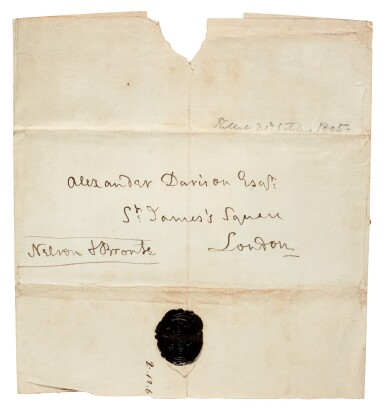 View 3. Thumbnail of Lot 98. NELSON | autograph letter signed, to Alexander Davison, 13 October 1805.