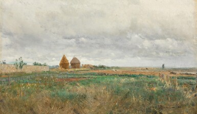 View 1. Thumbnail of Lot 26. IVAN PAVLOVICH POKHITONOV   LANDSCAPE WITH HAYSTACKS AND A FLOCK OF SHEEP.