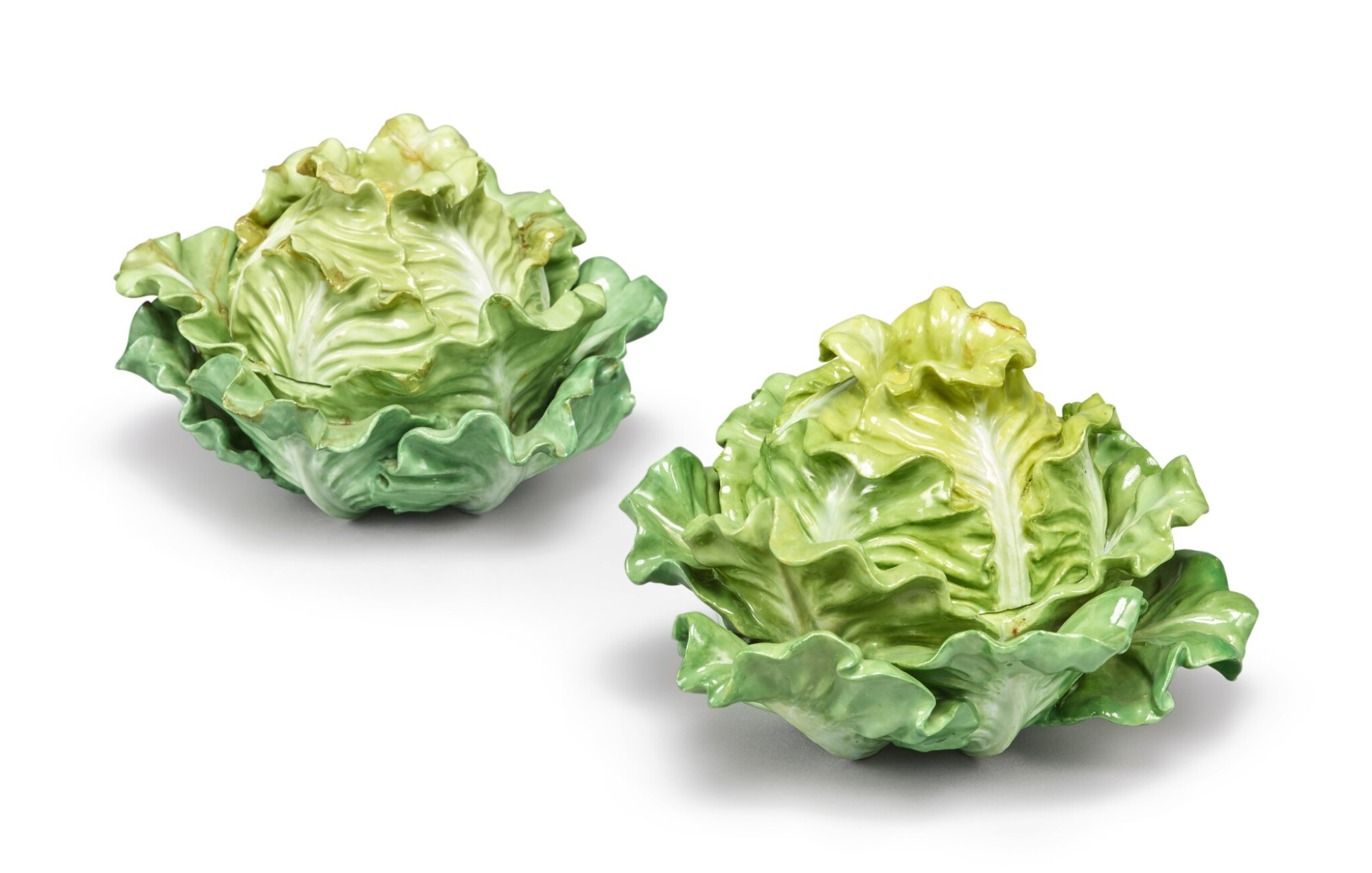 View full screen - View 1 of Lot 156. TWO MEISSEN LETTUCE-FORM BOXES AND COVERS, MID-19TH CENTURY.