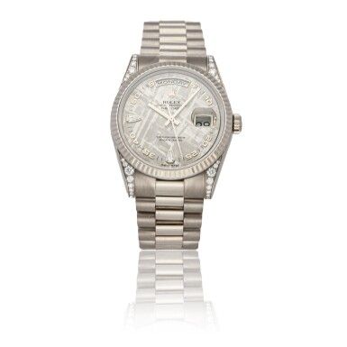 ROLEX | DAY-DATE REF 118339, A WHITE GOLD AUTOMATIC WRISTWATCH WITH DAY, DATE AND BRACELET CIRCA 2001