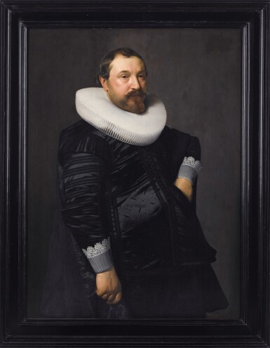 View 2. Thumbnail of Lot 215. NICOLAES ELIASZ. PICKENOY | PORTRAIT OF A GENTLEMAN, THREE-QUARTER-LENGTH, IN BLACK SILK WITH A WHITE RUFF.