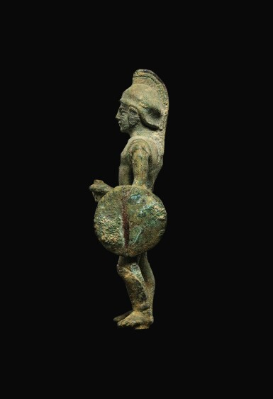 View 3. Thumbnail of Lot 9. AN ITALIC BRONZE FIGURE OF A WARRIOR, CIRCA 3RD CENTURY B.C..