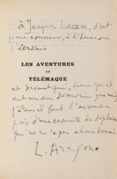 """View 3. Thumbnail of Lot 81. Ens. de 8 ouvrages avec envois à Jacques Lacan, dont """"Blanche ou L'Oubli"""", 1967, sur grand papier."""