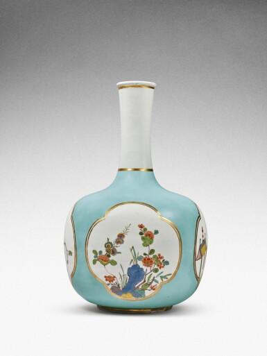 View 3. Thumbnail of Lot 35. A very rare Meissen Augustus Rex large seladon-ground bottle vase, Circa 1735 .