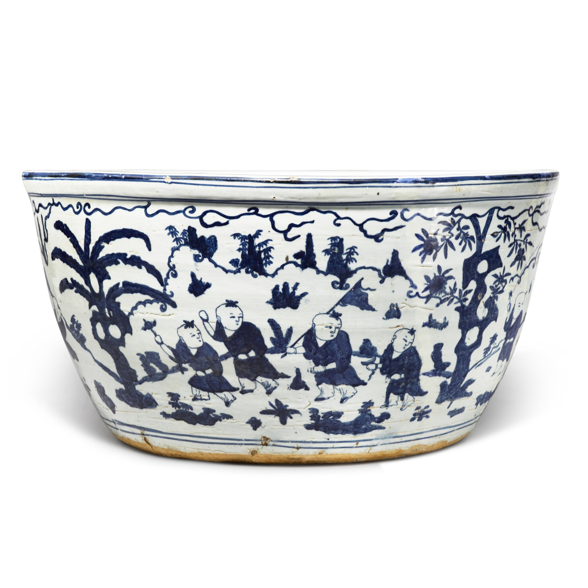 View full screen - View 1 of Lot 87. A very large blue and white 'boys' fishbowl, Mark and period of Jiajing | 明嘉靖 青花嬰戲圖大缸 《大明嘉靖年製》款.