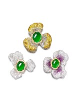 CINDY CHAO | SET OF THREE JADEITE, DIAMOND AND PINK SAPPHIRE BROOCHES | 趙心綺 | 天然翡翠 配 鑽石 及 粉紅剛玉 胸針 一組三件