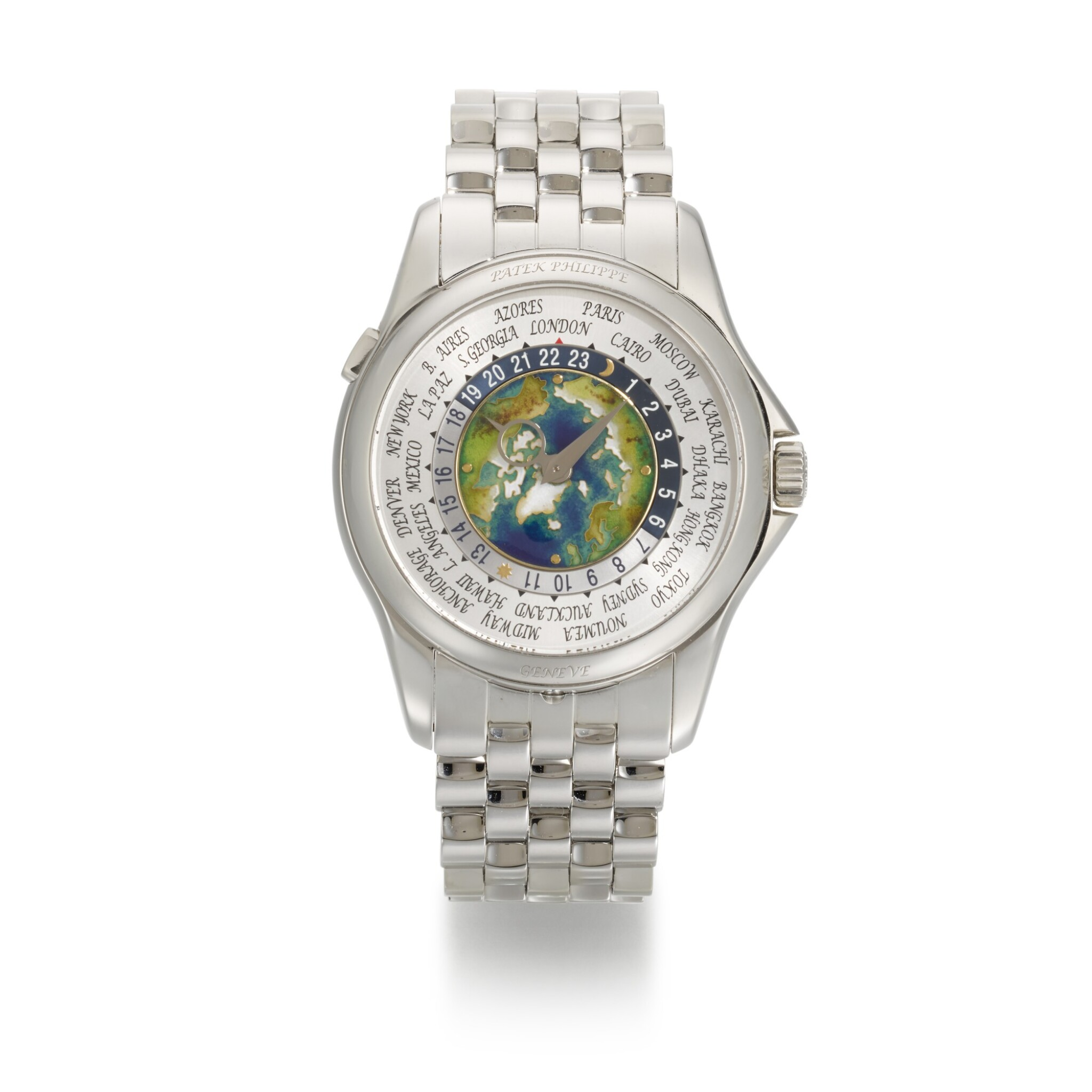 View full screen - View 1 of Lot 361. PATEK PHILIPPE   WORLD TIME, REF 5131/1P, PLATINUM WORLD TIME WRISTWATCH WITH CLOISONNE ENAMEL DIAL AND BRACELET, CIRCA 2018.