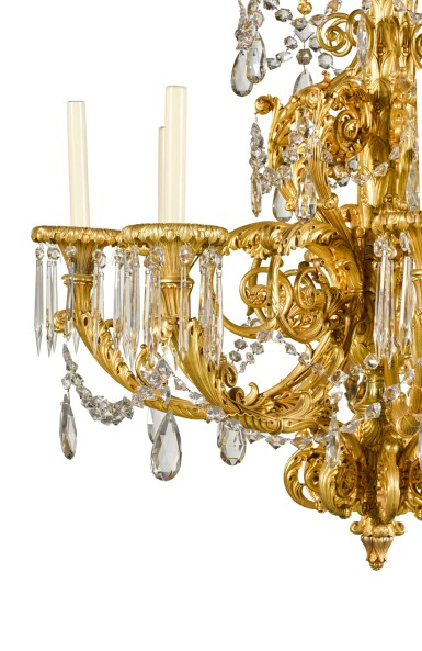 View 5. Thumbnail of Lot 56. A gilt-bronze eight-light chandelier, possibly North European, second quarter 19th century.