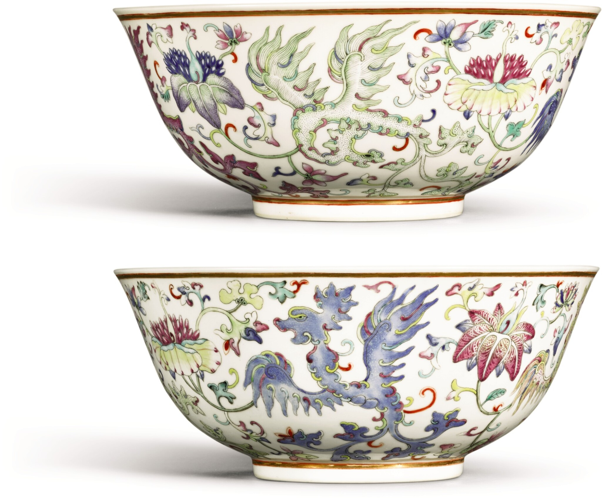View full screen - View 1 of Lot 154. A PAIR OF FAMILLE-ROSE 'PHOENIX' BOWLS GUANGXU MARKS AND PERIOD | 清光緒 粉彩穿花夔鳳紋盌一對 《大清光緒年製》款.