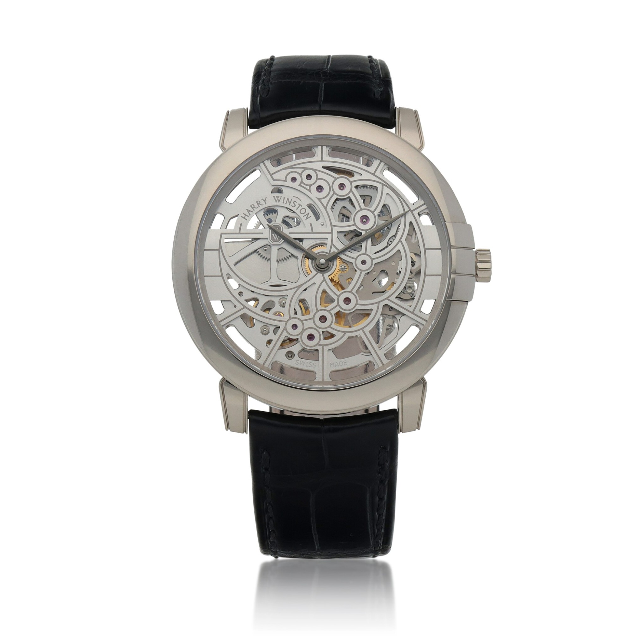 View full screen - View 1 of Lot 540. Midnight, Ref. 450-MAS42W White gold skeletonized wristwatch Circa 2015   海瑞溫斯頓 450-MAS42W型號「Midnight」白金鏤空腕錶,年份約2015.