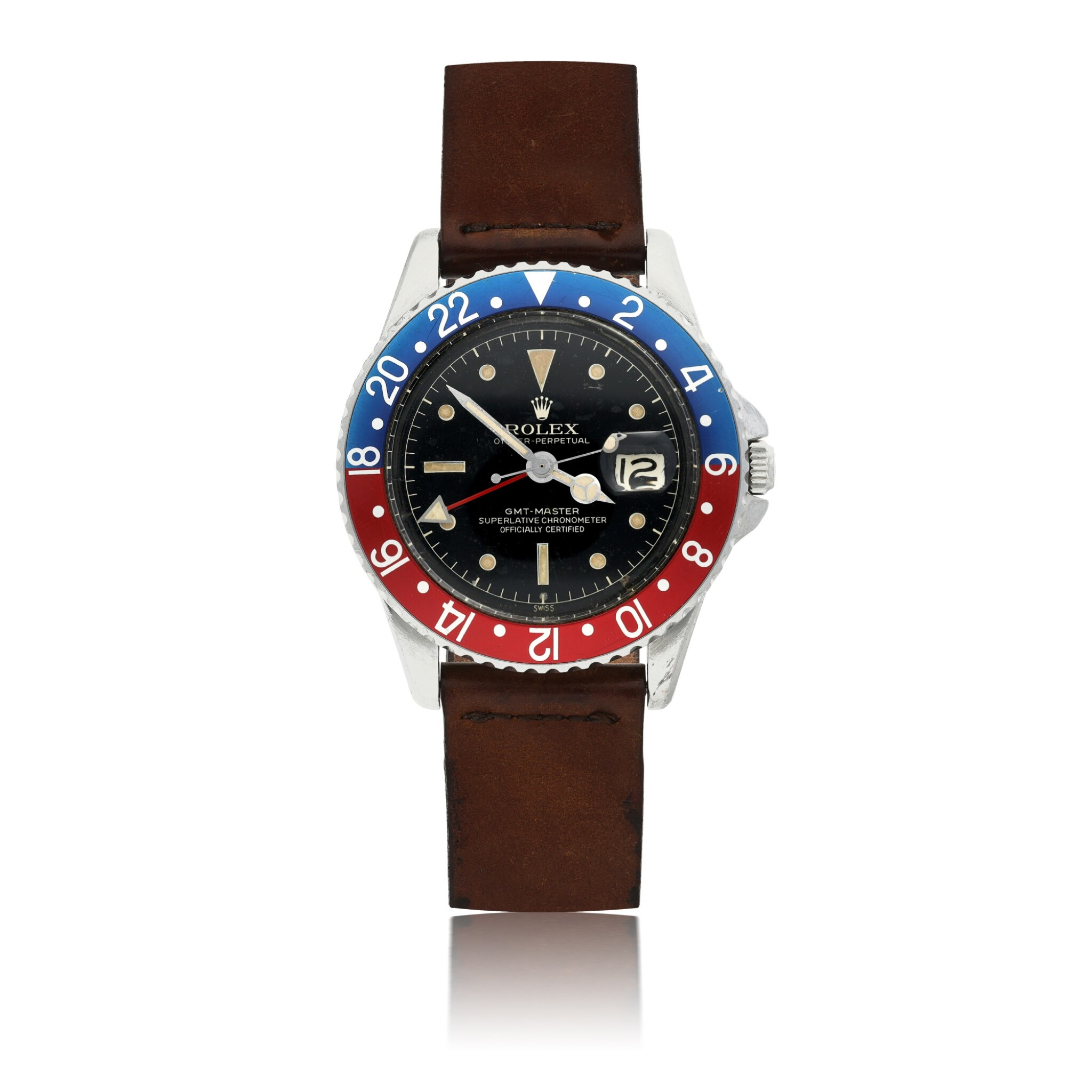 View full screen - View 1 of Lot 162. ROLEX   REF 1675 GMT-MASTER, A STAINLESS STEEL AUTOMATIC DUAL TIME WRISTWATCH WITH DATE CIRCA 1960.