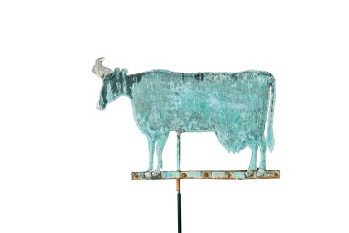 View 2. Thumbnail of Lot 1467. VERY FINE AND LARGE AMERICAN MOLDED SHEET-COPPER AND ZINC COW WEATHERVANE, CIRCA 1880.