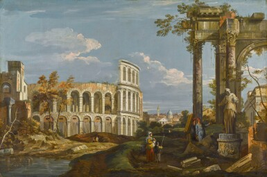 View 1. Thumbnail of Lot 176. Architectural capriccio with ruins and the Colosseum.