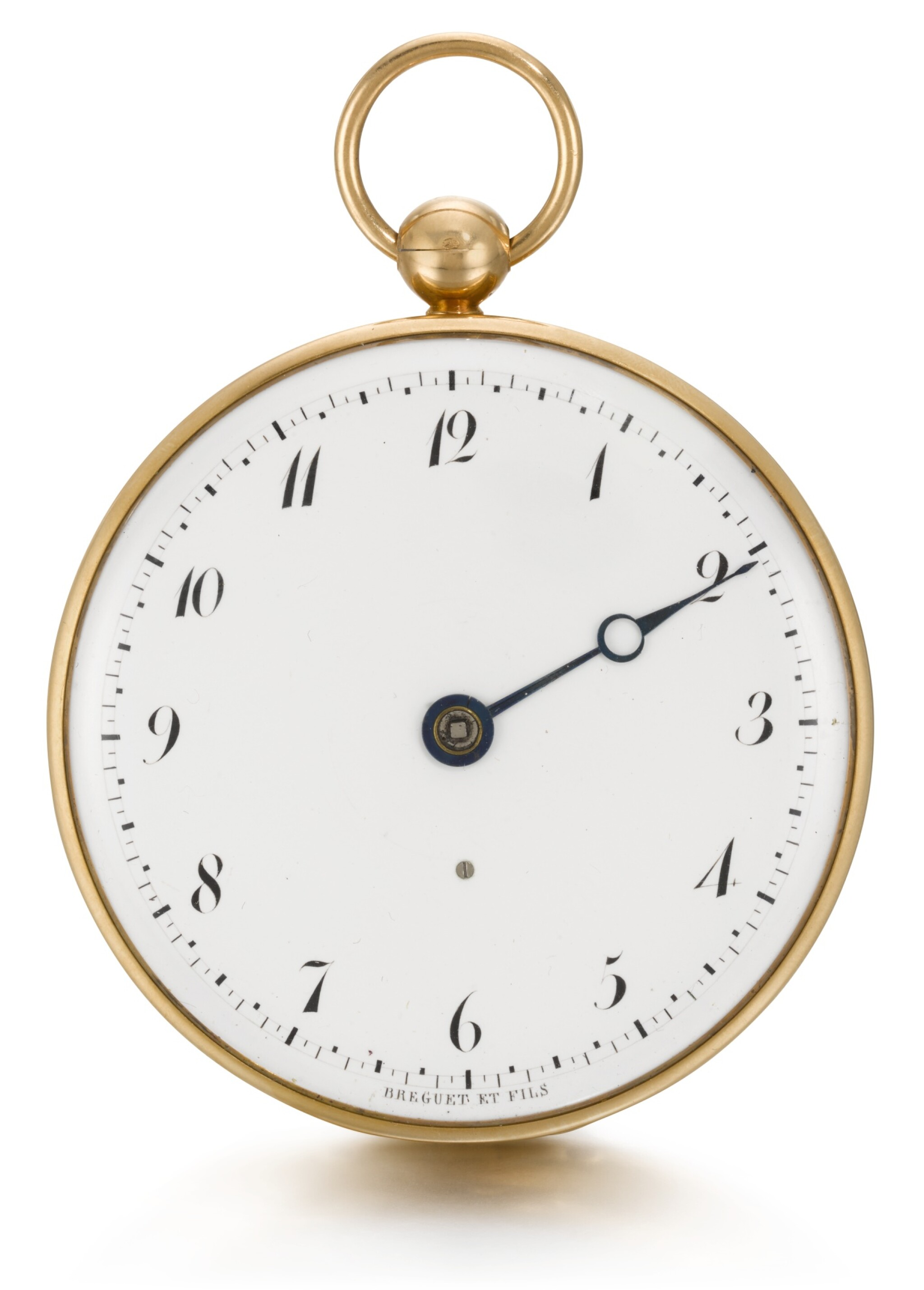 BREGUET ET FILS  [ 寶璣]  | A LARGE GOLD RUBY CYLINDER SINGLE HANDED WATCH   NO. 3337, 'MONTRE DE SOUSCRIPTION' SOLD TO MONSIEUR CALISTE CASSON ON 2 JULY 1819 FOR 888 FRANCS  [ 大型黃金單指針懷錶備紅寶石工字輪擒縱機芯,編號3337,1819年7月2日以888法郎售出]