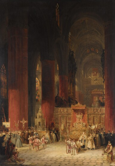 View 1. Thumbnail of Lot 160. DAVID ROBERTS, R.A. | INTERIOR OF THE CATHEDRAL OF SEVILLE DURING THE CEREMONY OF CORPUS CHRISTI.